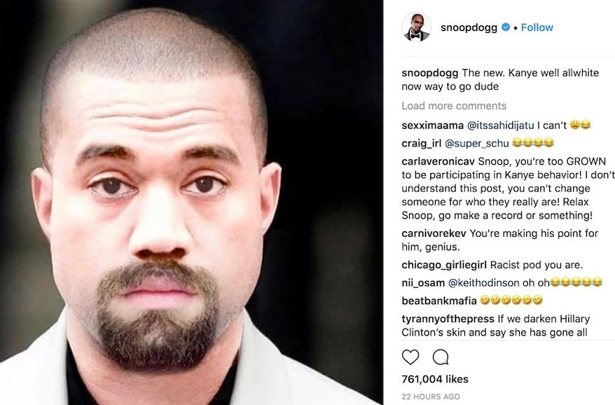 "Rapper Snopp Dogg shared a picture of the ""new"" Kanye West with his 23 million Instagram followers. ""The new Kanye. Well, all white now. Way to go, dude,"" he wrote next to a digitally altered picture on May 3, 2018. (Image: Instagram, Snoop Dogg, screenshot) ** FILE **"
