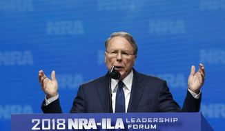 Wayne LaPierre, Executive Vice President of the National Rifle Association speaks at the NRA-Institute for Legislative Action Leadership Forum in Dallas, Friday, May 4, 2018. (AP Photo/Sue Ogrocki)
