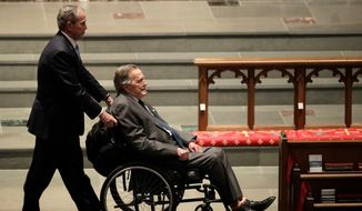 In this April 21, 2018, file photo, former presidents George W. Bush, left, and George H.W. Bush arrive at St. Martin's Episcopal Church for a funeral service for former first lady Barbara Bush in Houston. George H.W. Bush has been hospitalized in Houston with an infection, just after attending the funeral of his wife, Barbara, a spokesman said Monday, April 23. (AP Photo/David J. Phillip, File)