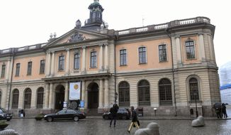 The old Stock Exchange Building, home of the Swedish Academy in Stockholm on Thursday May 3, 2018.  For the first time since 1943, there's a notable risk that no Nobel Prize in literature will be awarded this year. (Fredrik Sandberg/TT via AP)