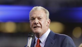 """FILE - In this Jan. 1, 2017 file photo, Indianapolis Colts owner Jim Irsay speaks before former general manager Bill Polian is inducted into the team's Ring of Honor during half time of an NFL football game in Indianapolis. The founding document of Alcoholics Anonymous, known to adherents as the """"Big Book,"""" has been sold at auction for $2.4 million to Irsay. The auction house Profiles in History says the manuscript with handwritten notes from group's founding fathers, sold to Irsay on Saturday, May 5, 2018, in Los Angeles. (AP Photo/Darron Cummings, File)"""
