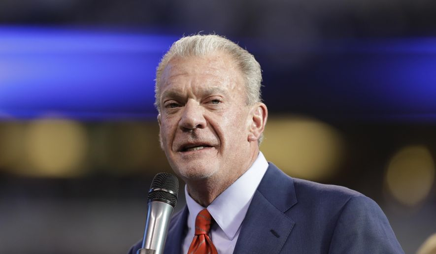 "FILE - In this Jan. 1, 2017 file photo, Indianapolis Colts owner Jim Irsay speaks before former general manager Bill Polian is inducted into the team's Ring of Honor during half time of an NFL football game in Indianapolis. The founding document of Alcoholics Anonymous, known to adherents as the ""Big Book,"" has been sold at auction for $2.4 million to Irsay. The auction house Profiles in History says the manuscript with handwritten notes from group's founding fathers, sold to Irsay on Saturday, May 5, 2018, in Los Angeles. (AP Photo/Darron Cummings, File)"