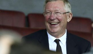 FILE- In this file photo dated Thursday, Sept. 29, 2016, former Manchester United manager Alex Ferguson waits for the start of the Europa League group A soccer match against Zorya Luhansk at Old Trafford, Manchester, England. Manchester United said Saturday May 5, 2018, that former manager Alex Ferguson has undergone emergency surgery for a brain haemorrhage. (AP Photo/Dave Thompson, FILE)