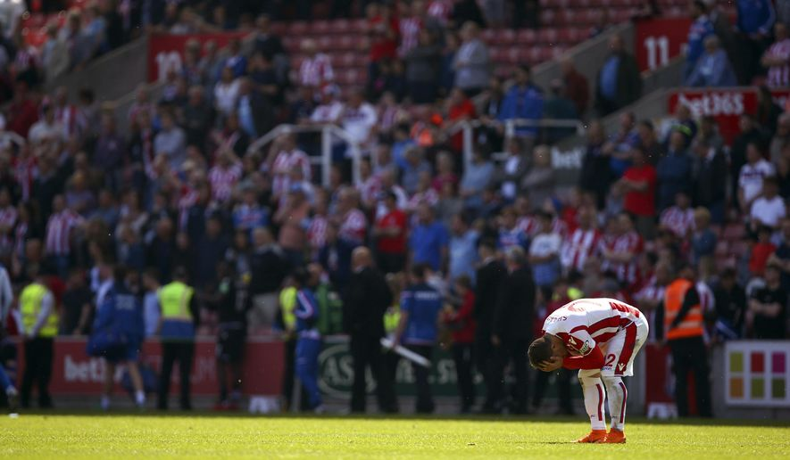 Stoke City's Xherdan Shaqiri reacts after Stoke City are relegated following the English Premier League soccer match between Stoke City and Crystal Palace, at the bet365 Stadium, in Stoke, England, Saturday May 5, 2018. (Dave Thompson/PA via AP)