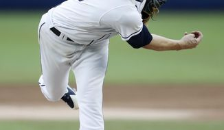 San Diego Padres starting pitcher Bryan Mitchell throws to a Los Angeles Dodgers batter during a baseball game Saturday, May 5, 2018, in Monterrey, Mexico. (AP Photo/ Eduardo Verdugo)