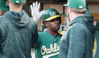 Oakland Athletics' Khris Davis, center, is congratulated by teammates after hitting a three-run home run against the Baltimore Orioles during the first inning of a baseball game Friday, May 4, 2018, in Oakland, Calif. (AP Photo/Tony Avelar)