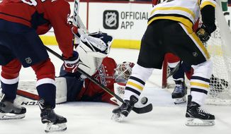 Washington Capitals goaltender Braden Holtby (70) defends with the help of right wing Devante Smith-Pelly (25) against Pittsburgh Penguins center Sidney Crosby (87) during the first period of Game 5 in the second round of the NHL Stanley Cup hockey playoffs, Saturday, May 5, 2018, in Washington. (AP Photo/Alex Brandon) **FILE**