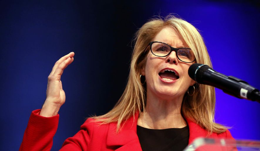 In this file photo, then-gubernatorial candidate Mary Mayhew speaks at the Republican Convention, Saturday, May 5, 2018, in Augusta, Maine. Ms. Mayhew went on to briefly serve in the Trump administration at the Centers for Medicare and Medicaid Services, before announcing on Jan. 4, 2019, that she was leaving that post for a job with the administration of incoming Florida Gov. Ron DeSantis. (AP Photo/Robert F. Bukaty) **FILE**
