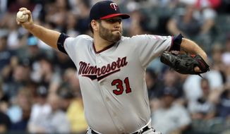 Minnesota Twins staring pitcher Lance Lynn throws against the Chicago White Sox during the first inning of a baseball game Saturday, May 5, 2018, in Chicago. (AP Photo/Nam Y. Huh)