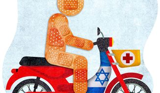 Israeli First Responder Illustration by Greg Groesch/The Washington Times
