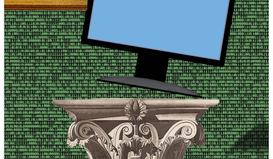 Illustration on continued government interference with the internet by Alexander Hunter/The Washington Times