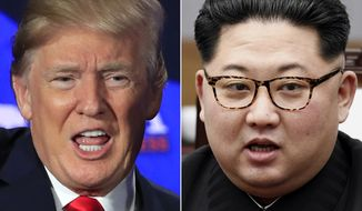 This combination of two file photos shows U.S. President Donald Trump, left, speaking during a roundtable discussion on tax cuts in Cleveland, Ohio, May 5, 2018 and North Korean leader Kim Jong-un, right, talking with South Korean President Moon Jae-in in Panmunjom, South Korea, April 27, 2018. (AP Photo/Manuel Balce Ceneta, Korea Summit Press Pool via AP, File)