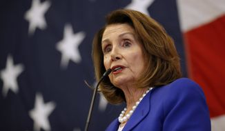 House Minority Leader Nancy Pelosi, D-California, speaks during the Polk County Democrats Spring Dinner, Sunday, May 6, 2018, in Des Moines, Iowa. (AP Photo/Charlie Neibergall) ** FILE **