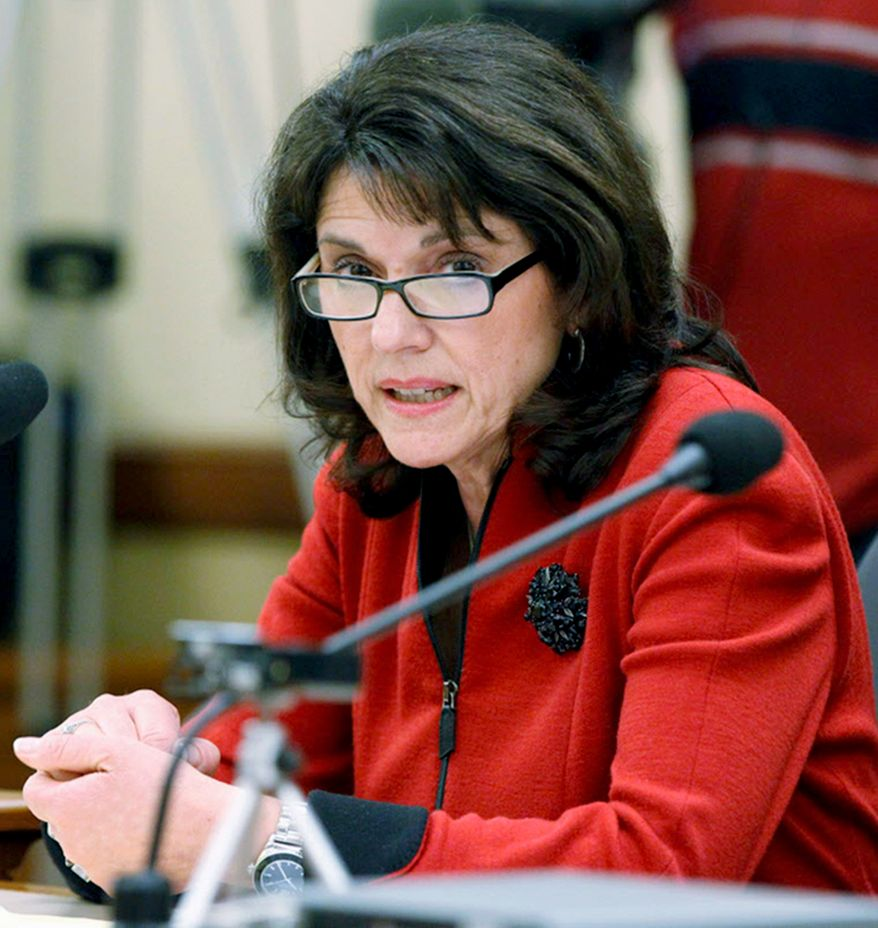 In this March 6, 2014, file photo, Wisconsin Republican state Sen. Leah Vukmir speaks at the Capitol in Madison, Wis. Vukmir, a candidate for U.S. Senate, faces businessman and political newcomer Kevin Nicholson, in the Aug. 14, 2018, primary. (Mark Hoffman /Milwaukee Journal-Sentinel via AP, File/)