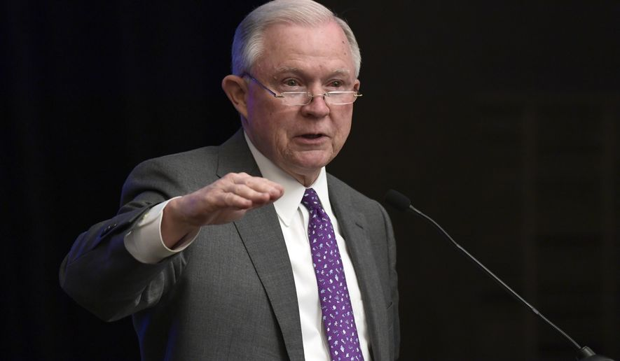 Attorney General Jeff Sessions speaks at the National Sheriffs' Association D.C. Opioid Roundtable in Washington, Thursday, May 3, 2018. (AP Photo/Susan Walsh)