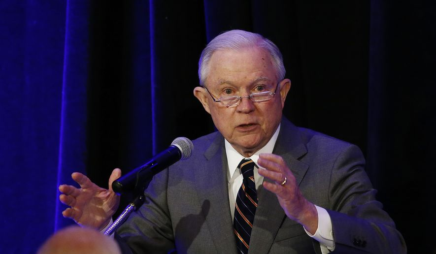 Attorney General Jeff Sessions speaks at the Association of State Criminal Investigative Agencies event Monday, May 7, 2018, in Scottsdale, Ariz. (AP Photo/Ross D. Franklin)
