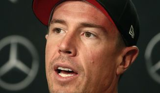 Atlanta Falcons quarterback Matt Ryan speaks during a news conference Monday, May 7, 2018, in Flowery Branch, Ga. Ryan recently signed a contract extension that makes him the highest paid player in the NFL. (AP Photo/John Bazemore)