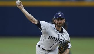 San Diego Padres starting pitcher Bryan Mitchell delivers a pitch during a baseball game against Los Angeles Dodgers, Saturday, May 5, 2018, in Monterrey, Mexico. (AP Photo/ Eduardo Verdugo)