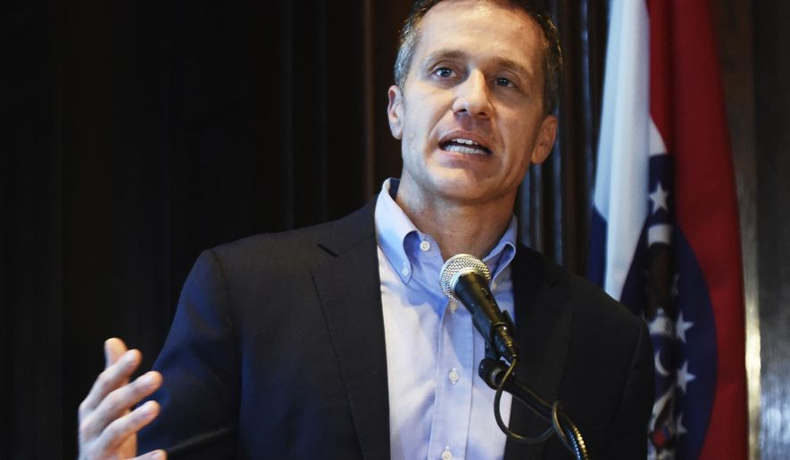 FILE - In this April 11, 2018, file photo, Missouri Gov. Eric Greitens speaks at a news conference in Jefferson City, Mo., about allegations related to an extramarital affair with his hairdresser. A judge on Monday, May 7, will consider whether the pivotal witness in Greitens' criminal trial - a woman involved in an affair with him - should be prohibited from testifying. (Julie Smith/The Jefferson City News-Tribune via AP, File)