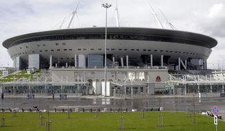 In this photo taken on Thursday, May 3, 2018, a general view of the soccer stadium Saint Petersburg, in St.Petersburg, Russia. (AP Photo/Dmitri Lovetsky)