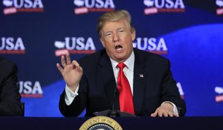 In this May 5, 2018 photo, President Donald Trump speaks during a roundtable discussion on tax reform at Cleveland Public Auditorium and Conference Center in Cleveland, Ohio. Trump says he will announce his decision on whether to keep the U.S. in the Iran nuclear deal on Tuesday.   (AP Photo/Manuel Balce Ceneta)