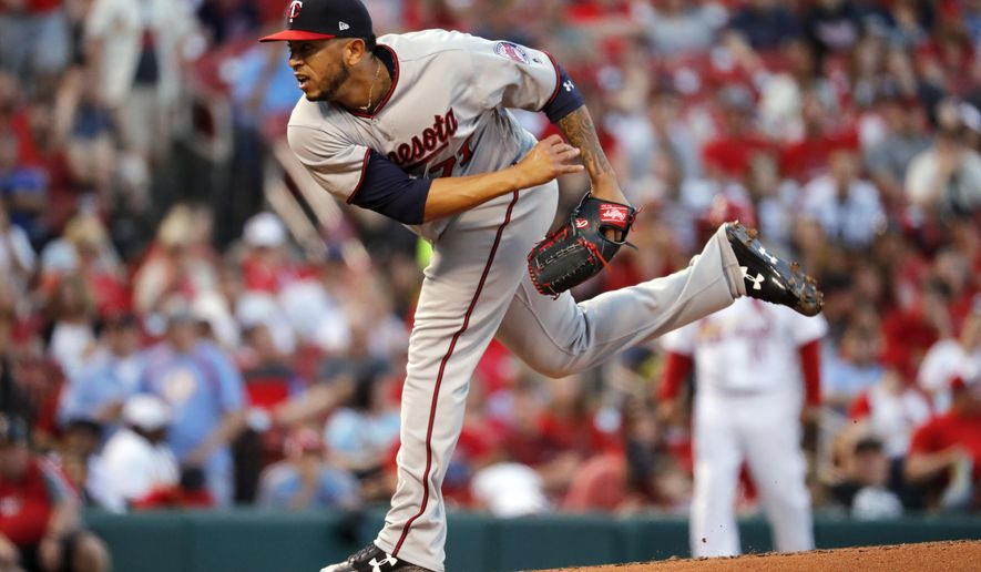 Minnesota Twins starting pitcher Fernando Romero throws during the first inning of a baseball game against the St. Louis Cardinals Monday, May 7, 2018, in St. Louis. (AP Photo/Jeff Roberson)