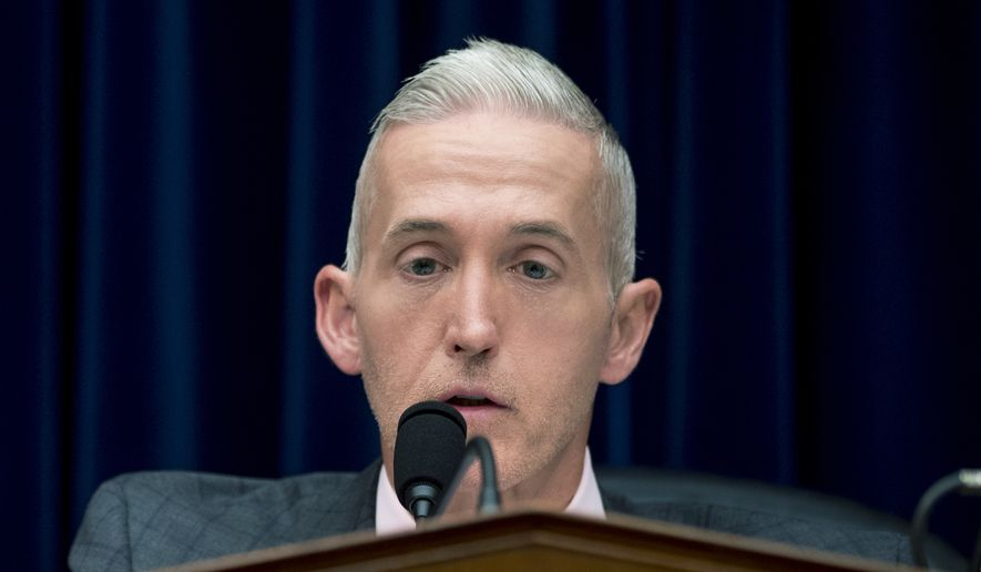 Chairman Trey Gowdy, R-S.C., speaks at a House Oversight and Government Reform Committee hearing on the 2020 Census, on Capitol Hill, Tuesday, May 8, 2018, in Washington. (AP Photo/Andrew Harnik)