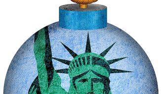 Debt Bomb Illustration by Greg Groesch/The Washington Times
