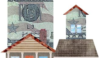 Illustration on the financial benefits of homeownership by Greg Groesch/The Washington Times