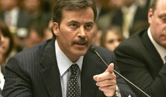 "Baltimore Orioles first baseman Rafael Palmeiro testifies on Capitol Hill in this March 17, 2005 photo. Palmeiro was suspended 10 days for violating Major League Baseball's steroids policy Monday Aug. 1, 2005, nearly five months after emphatically telling Congress that ""I have never used steroids. Period.""  (AP Photo/Gerald Herbert, Files)"