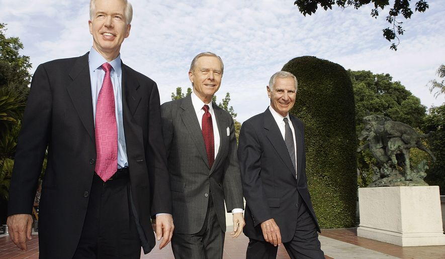 Former California Governors, Gray Davis, left,  Pete Wilson, center, and George Deukmejian make a return appearance, Friday, May 13, 2005, on California Connected, a public television newsmagazine broadcast, for a roundtable discussion about the legislative changes they proposed on the program last season, held at The Huntington Library in San Marino, Calif. (AP Photo/Damian Dovarganes)