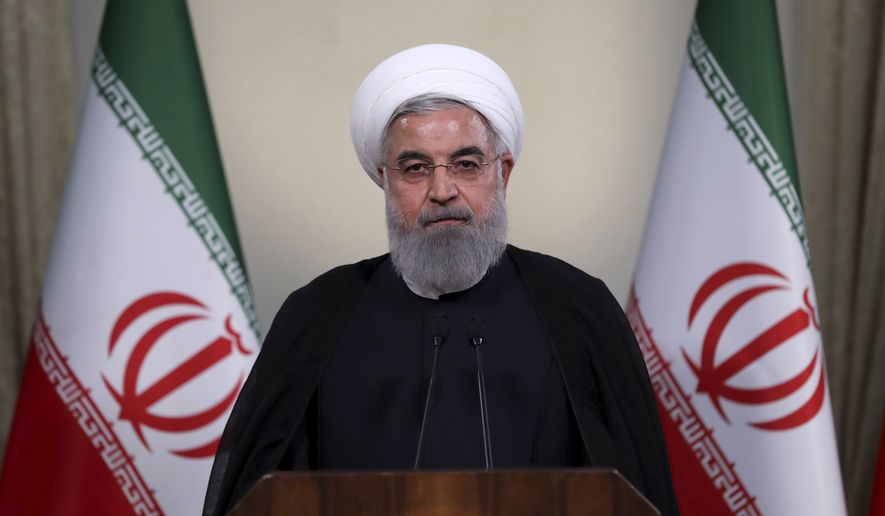 In this photo released by official website of the office of the Iranian Presidency, President Hassan Rouhani addresses the nation in a televised speech in Tehran, Iran, Tuesday, May 8, 2018. (Iranian Presidency Office via AP) ** FILE **