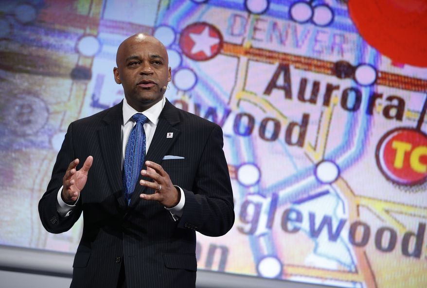 Denver Mayor Michael Hancock speaks during a Panasonic news conference at CES Press Day at CES International, Tuesday, Jan. 5, 2016, in Las Vegas. (AP Photo/John Locher)