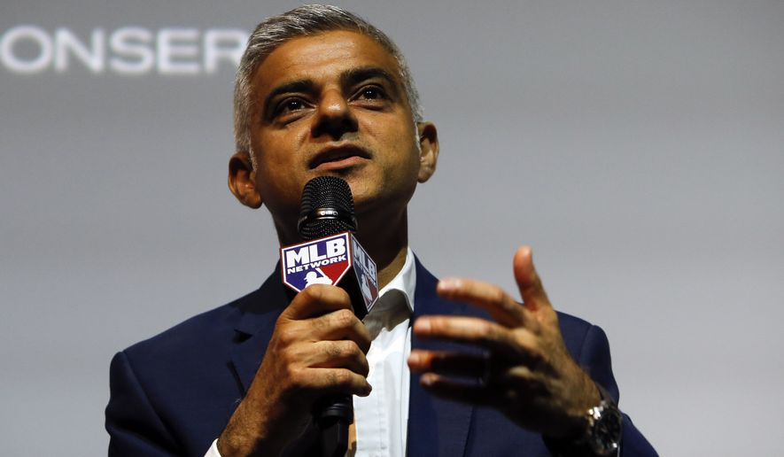 Sadiq Khan the Mayor of London speaking to the media during a press conference in London, Tuesday, May 8, 2018, to announce a two game series to be played in London. The Boston Red Sox and the New York Yankees will play a MLB two game series at the London Stadium in London, June 29-30th 2019. (AP Photo/Alastair Grant)