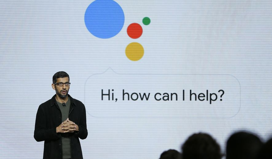 In this Tuesday, Oct. 4, 2016, file photo, Google CEO Sundar Pichai talks about Google Assistant during a product event in San Francisco. (AP Photo/Eric Risberg, File)