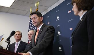 House Speaker Paul Ryan of Wis., center, with from left, House Majority Leader Kevin McCarthy of California, House Majority Whip Steve Scalise, R-La., and Rep. Cathy McMorris Rodgers, R-Wash., speaks to members of the media after their GOP caucus meeting on Capitol Hill in Washington, Tuesday, May 8, 2018. (AP Photo/Pablo Martinez Monsivais)