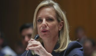 Homeland Security Secretary Kirstjen Nielsen testifies before Senate Appropriations subcommittee hearing on Capitol Hill in Washington, Tuesday, May 8, 2018. (AP Photo/Pablo Martinez Monsivais)
