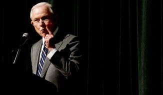 "Attorney General Jeff Sessions addressed the crowd at the Law Enforcement Training Conference in Gatlinburg, Tennessee, on Tuesday. ""If you want crime to go up, let the ACLU run the police department,"" Mr. Sessions said. ""If you want public safety, call the professionals. That is what President Trump believes, and that is what I believe."" (Associated Press)"