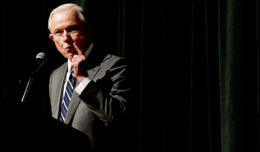 """Attorney General Jeff Sessions addressed the crowd at the Law Enforcement Training Conference in Gatlinburg, Tennessee, on Tuesday. """"If you want crime to go up, let the ACLU run the police department,"""" Mr. Sessions said. """"If you want public safety, call the professionals. That is what President Trump believes, and that is what I believe."""" (Associated Press)"""