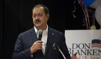 GOP Senate candidate and former Massey Energy CEO Don Blankenship speaks to the media about current polling results in the Marriott Charleston Town Center on the night of primary Election Day in Charleston, W.Va., Tuesday, May 8, 2018. (Craig Hudson/Charleston Gazette-Mail via AP) ** FILE **