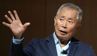 """Actor George Takei, best known for his role as Hikaru Sulu on the television series 'Star Trek' speaks about his experiences in U.S. internment camps during World War II, at an appearance at Boston Public Library, Tuesday, May 8, 2018, in Boston. Takei used his family's story as the inspiration for the Broadway musical """"Allegiance."""" (AP Photo/Steven Senne)"""