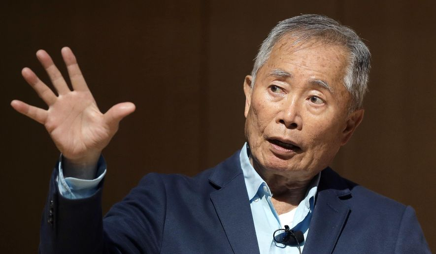 "Actor George Takei, best known for his role as Hikaru Sulu on the television series 'Star Trek' speaks about his experiences in U.S. internment camps during World War II, at an appearance at Boston Public Library, Tuesday, May 8, 2018, in Boston. Takei used his family's story as the inspiration for the Broadway musical ""Allegiance."" (AP Photo/Steven Senne)"
