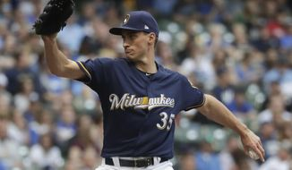 Milwaukee Brewers relief pitcher Brent Suter throws during the first inning of a baseball game against the Cleveland Indians Tuesday, May 8, 2018, in Milwaukee. (AP Photo/Morry Gash)