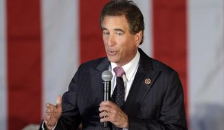 FILE – In this Sept. 29, 2014, file photo, U.S. Rep. Jim Renacci, R-Ohio, speaks at a GOP Get Out the Vote rally in Independence, Ohio. Renacci has said he joined the Senate race with White House encouragement, after Ohio Treasurer Josh Mandel withdrew because of his wife's health issue. Renacci had been running for governor, while Cleveland investment banker Mike Gibbons was already in the Senate race. (AP Photo/Mark Duncan, File)