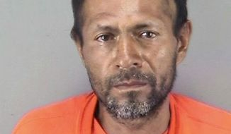 FILE - This undated file booking photo provided by the San Francisco Police Department shows Jose Ines Garcia Zarate, a homeless undocumented immigrant who was acquitted of killing Kate Steinle on a San Francisco pier in 2015. A hearing is scheduled Tuesday, May 8, 2018, to determine if Garcia-Zarate and his lawyers can argue to a jury that his federal gun charges represent double jeopardy and/or vindictive prosecution. A state court jury convicted him of illegal gun possession when it acquitted him of murdering Kate Steinle. (San Francisco Police Department via AP, File)