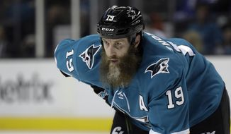 FILE - In this Jan. 23, 2018, file photo, San Jose Sharks' Joe Thornton (19) is shown during the second period of an NHL hockey game against the Winnipeg Jets, in San Jose, Calif. Thornton says he wants to finish his career with the Sharks and is hopeful he can get another contract signed before hitting free agency this summer. Thornton spoke Tuesday, May 8, 2018, as the Sharks packed up for the summer following a second-round loss to Vegas.(AP Photo/Marcio Jose Sanchez, File)
