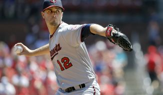 Minnesota Twins starting pitcher Jake Odorizzi throws during the first inning of a baseball game against the St. Louis Cardinals Tuesday, May 8, 2018, in St. Louis. (AP Photo/Jeff Roberson)