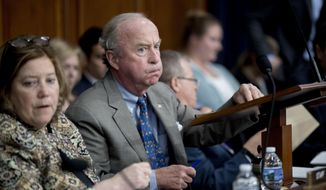 Chairman, Rep. Rodney Frelinghuysen, R-N.J., arrives to begin a House Appropriations Committee markup hearing for spending on military and veterans affairs, on Capitol Hill, Tuesday, May 8, 2018, in Washington. The committee approved a wide-ranging plan Tuesday to give veterans more freedom to see doctors outside the Veterans Affairs health system and fix a budget crisis in its troubled Choice private-sector program, a major step toward fulfilling President Donald Trump's promise to expand private care options.   (AP Photo/Andrew Harnik)