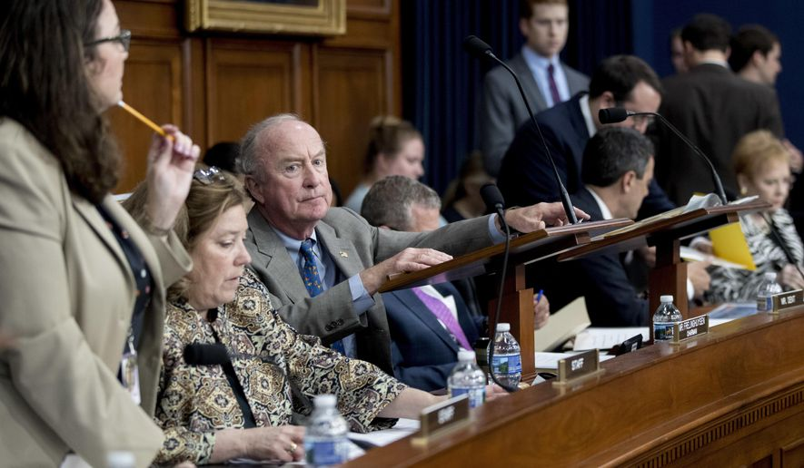 Chairman, Rep. Rodney Frelinghuysen, R-N.J., arrives to begin a House Appropriations Committee markup hearing for spending on military and veterans affairs, on Capitol Hill, Tuesday, May 8, 2018, in Washington. (AP Photo/Andrew Harnik)