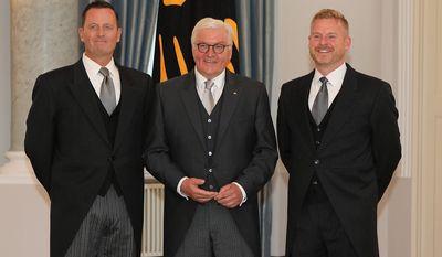 Ambassador Richard Grenell with German President Frank-Walter Steinmeier and Ambassador Grenell's partner Matt Lashey